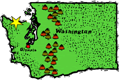 Map of Washington State marking the location of Sequim, Washington on the beautiful Olympic Peninsula.